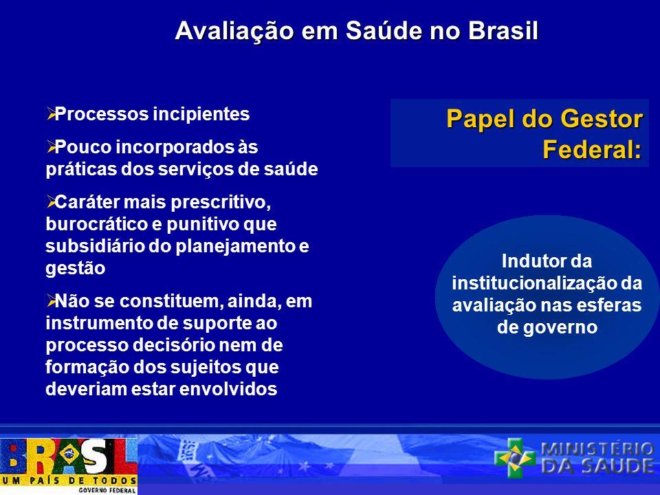 Avaliação em Saúde no Brasil Processos incipientes Pouco incorporados às práticas dos serviços de saúde Caráter mais prescritivo, burocrático e puniti