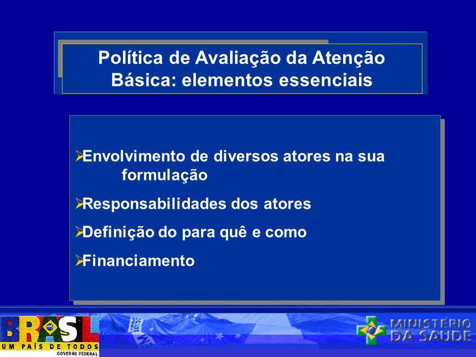 Política de Avaliação da Atenção Básica: elementos essenciais Envolvimento de diversos atores na sua formulação Responsabilidades dos atores Definição