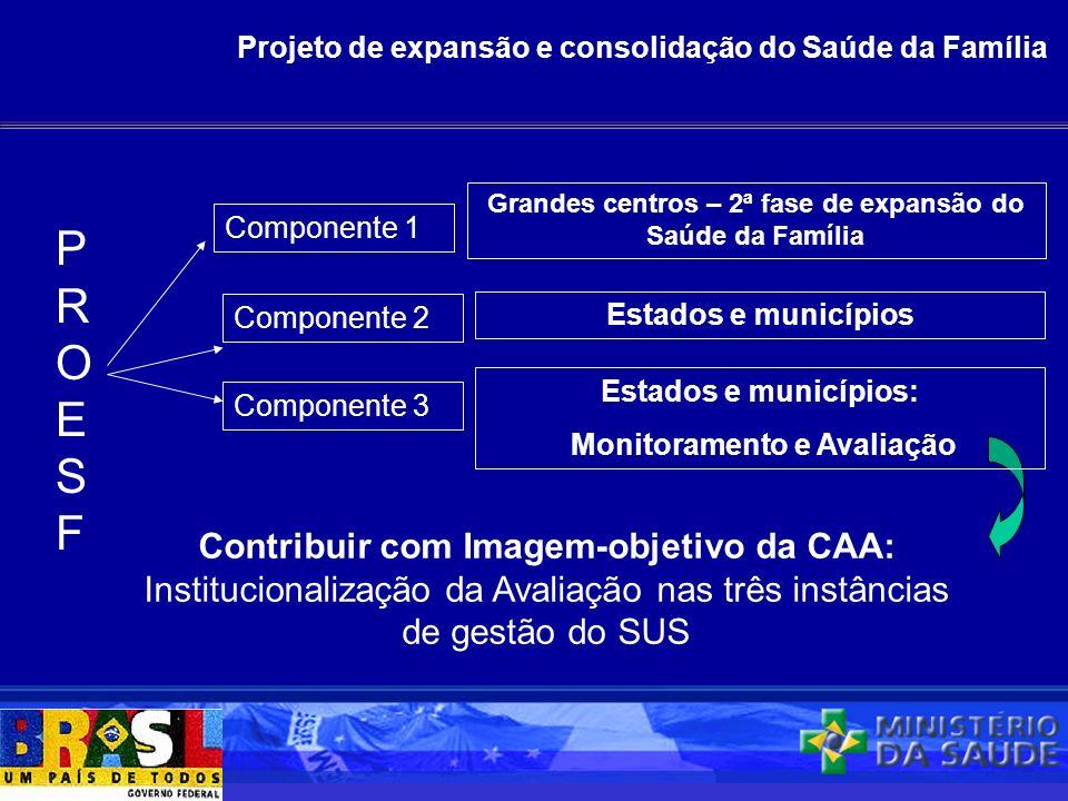Projeto de expansão e consolidação do Saúde da Família PROESFPROESF Componente 1 Componente 2 Componente 3 Contribuir com Imagem-objetivo da CAA: Inst