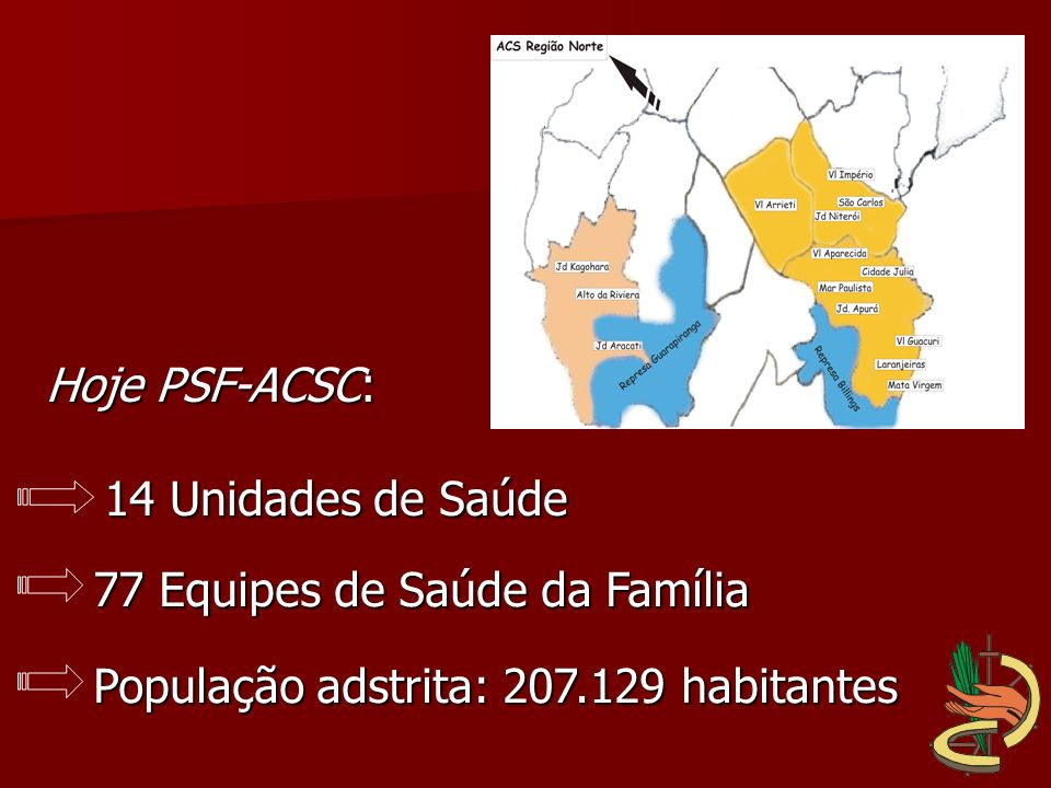 77 Equipes de Saúde da Família 14 Unidades de Saúde Hoje PSF-ACSC: População adstrita: 207.129 habitantes