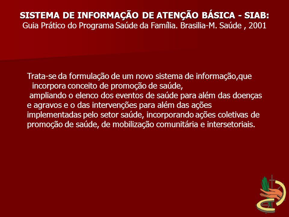 SISTEMA DE INFORMAÇÃO DE ATENÇÃO BÁSICA - SIAB: Guia Prático do Programa Saúde da Família. Brasilia-M. Saúde, 2001 Trata-se da formulação de um novo s