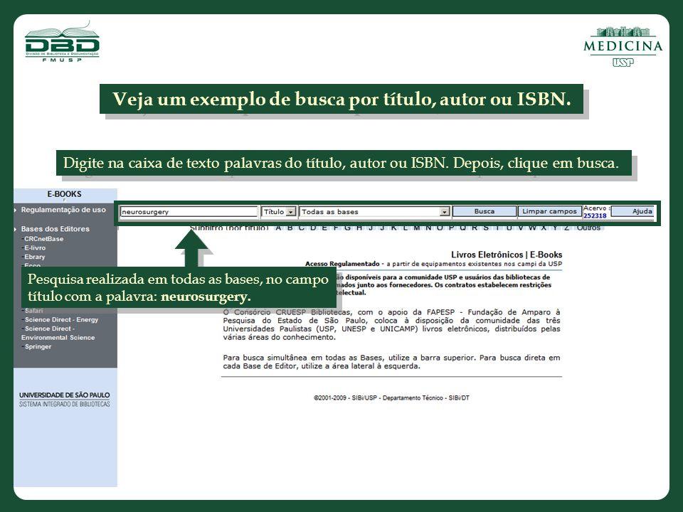 Veja um exemplo de busca por título, autor ou ISBN.