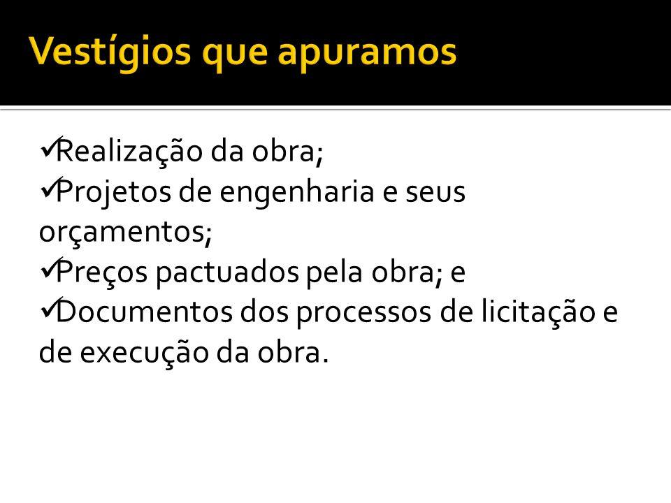 Realização da obra; Projetos de engenharia e seus orçamentos; Preços pactuados pela obra; e Documentos dos processos de licitação e de execução da obr