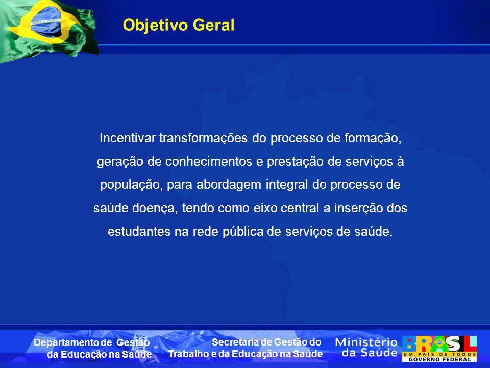 Secretaria de Gestão do Trabalho e da Educação na Saúde Departamento de Gestão da Educação na Saúde Objetivo Geral Incentivar transformações do proces
