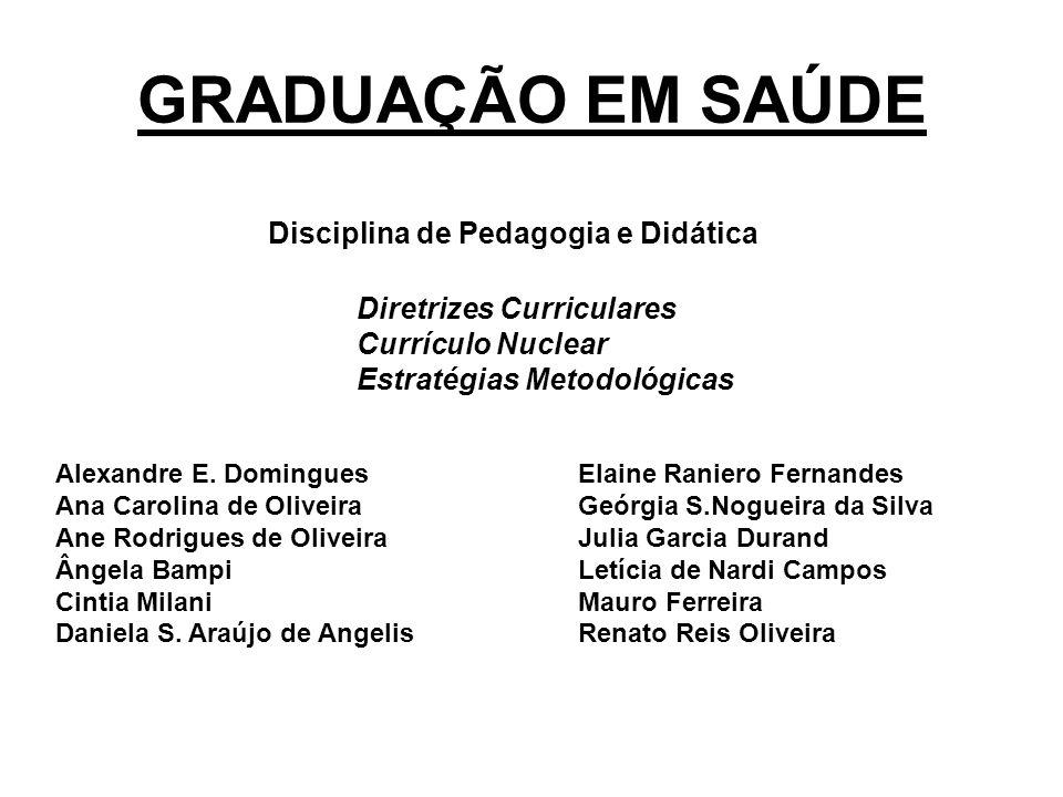 GRADUAÇÃO EM SAÚDE Disciplina de Pedagogia e Didática Alexandre E.