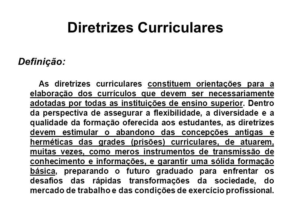 Diretrizes Curriculares Definição: As diretrizes curriculares constituem orientações para a elaboração dos currículos que devem ser necessariamente adotadas por todas as instituições de ensino superior.