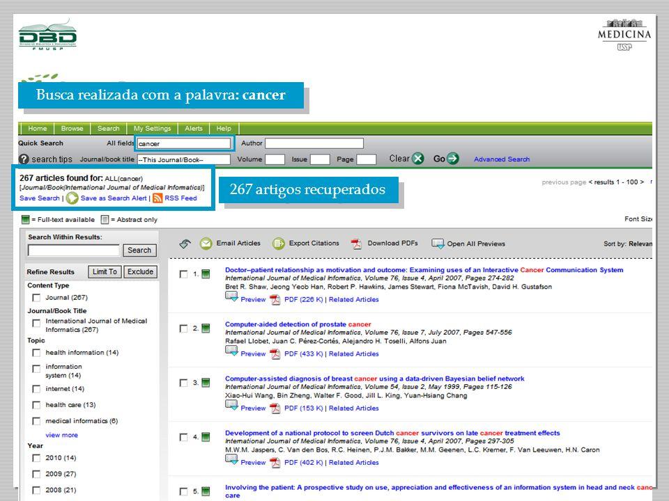 267 artigos recuperados Busca realizada com a palavra : cancer