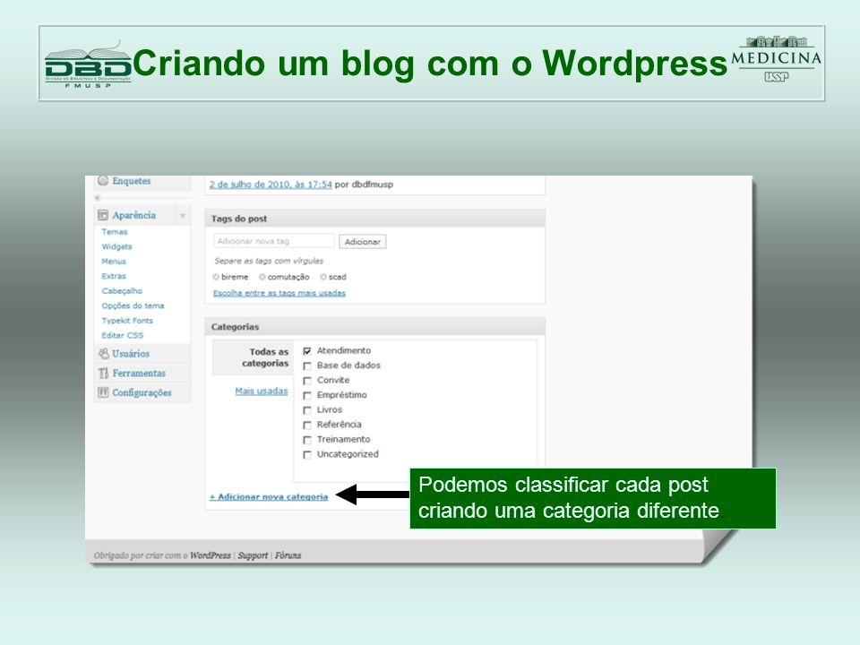 Criando um blog com o Wordpress Podemos pré-carregar as figuras, vídeos, arquivos.pdf para usar nos posts Adicionar mídia aqui