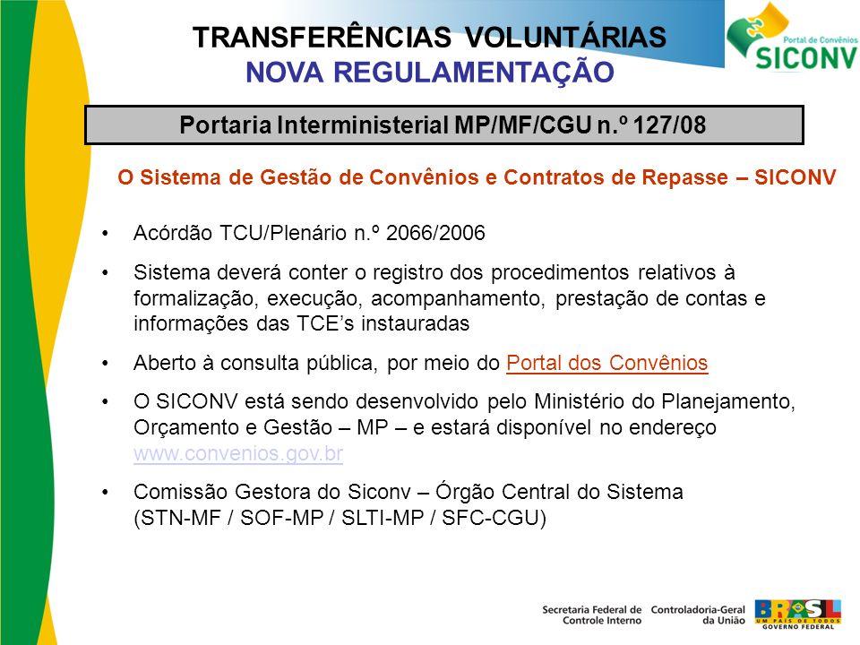 TRANSFERÊNCIAS VOLUNTÁRIAS NOVA REGULAMENTAÇÃO O Sistema de Gestão de Convênios e Contratos de Repasse – SICONV Acórdão TCU/Plenário n.º 2066/2006 Sis