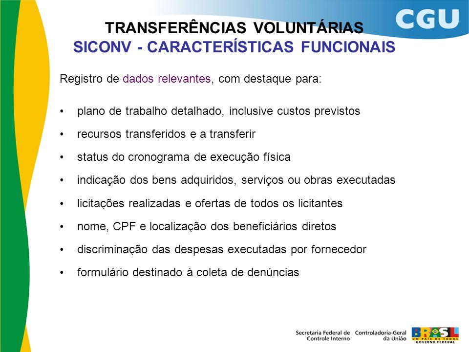 TRANSFERÊNCIAS VOLUNTÁRIAS SICONV - CARACTERÍSTICAS FUNCIONAIS Registro de dados relevantes, com destaque para: plano de trabalho detalhado, inclusive