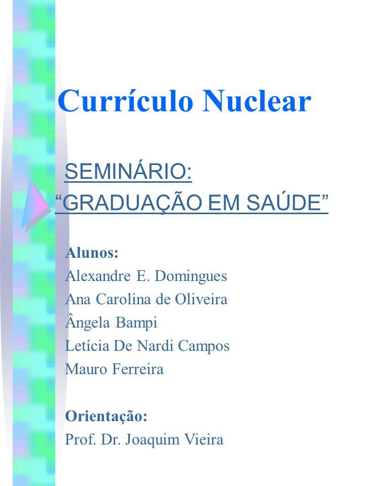 Currículo Nuclear SEMINÁRIO: GRADUAÇÃO EM SAÚDE Alunos: Alexandre E. Domingues Ana Carolina de Oliveira Ângela Bampi Letícia De Nardi Campos Mauro Fer