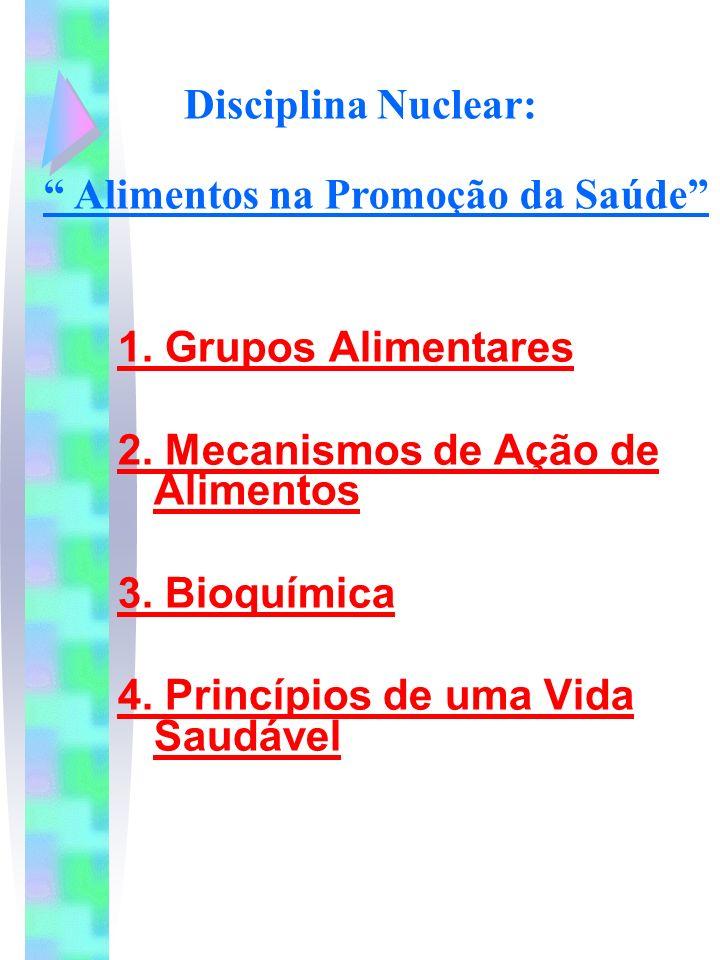 Disciplina Nuclear: 1. Grupos Alimentares 2. Mecanismos de Ação de Alimentos 3. Bioquímica 4. Princípios de uma Vida Saudável Alimentos na Promoção da