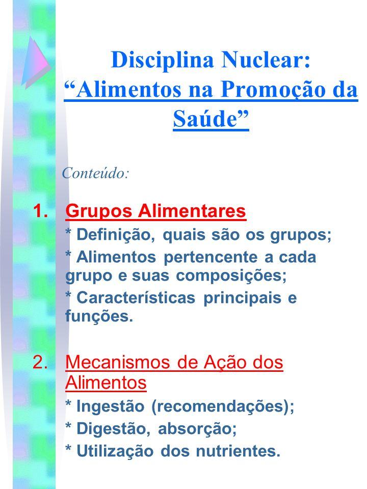 Disciplina Nuclear: Alimentos na Promoção da Saúde 1.Grupos Alimentares * Definição, quais são os grupos; * Alimentos pertencente a cada grupo e suas