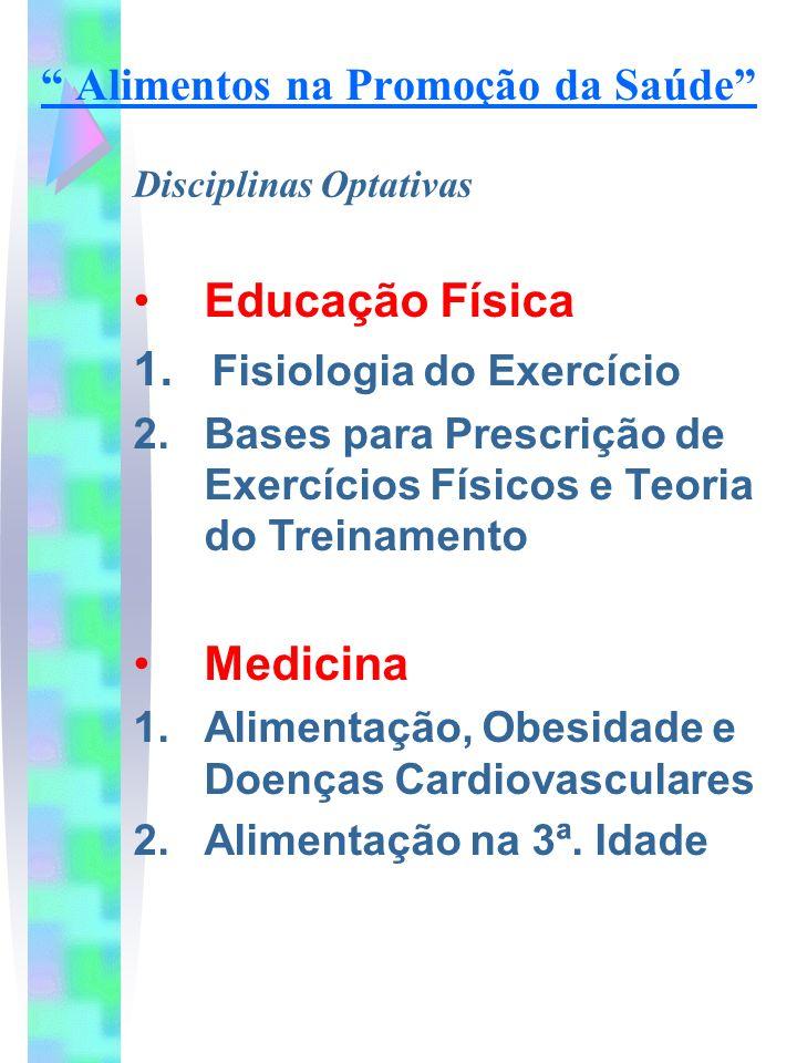 Educação Física 1. Fisiologia do Exercício 2. Bases para Prescrição de Exercícios Físicos e Teoria do Treinamento Medicina 1.Alimentação, Obesidade e