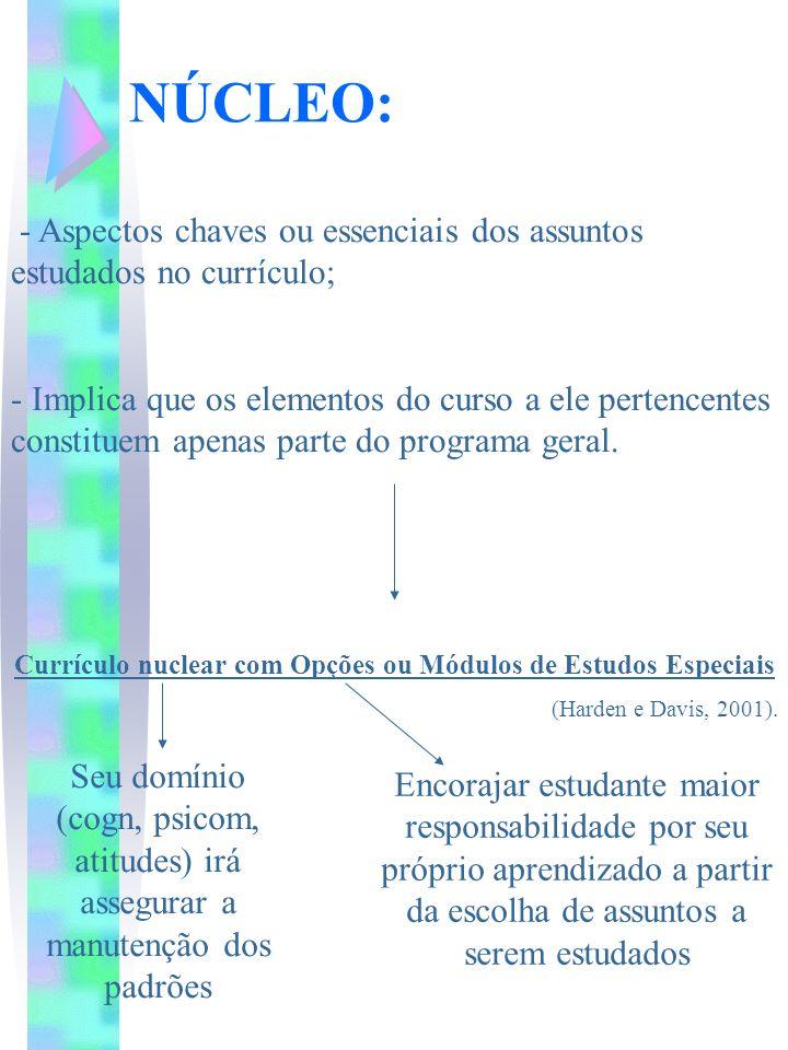 NÚCLEO: - Aspectos chaves ou essenciais dos assuntos estudados no currículo; - Implica que os elementos do curso a ele pertencentes constituem apenas
