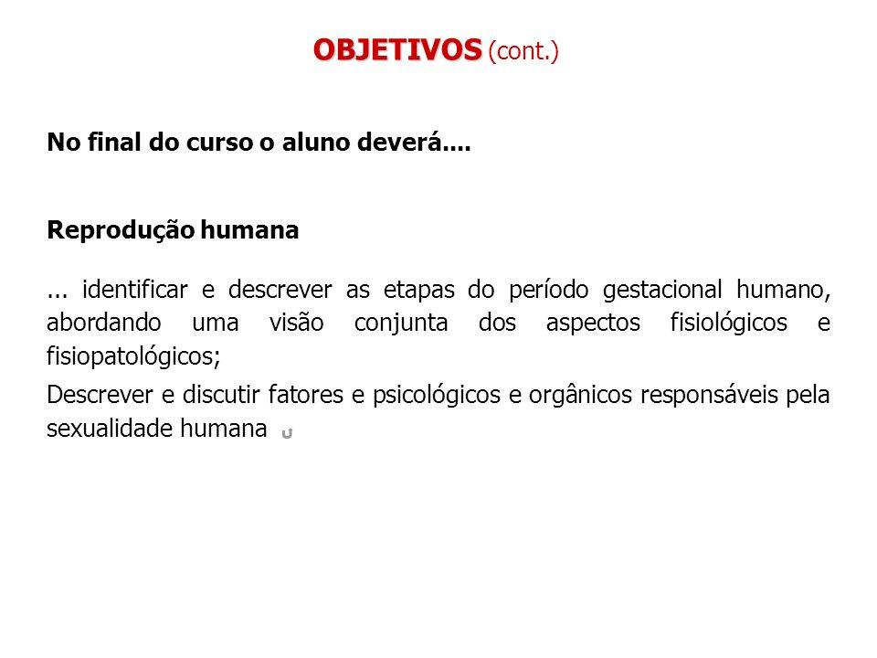 No final do curso o aluno deverá.... Reprodução humana... identificar e descrever as etapas do período gestacional humano, abordando uma visão conjunt