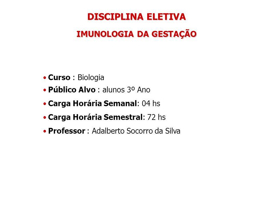 DISCIPLINA ELETIVA IMUNOLOGIA DA GESTAÇÃO Curso : Biologia Público Alvo : alunos 3º Ano Carga Horária Semanal: 04 hs Carga Horária Semestral: 72 hs Pr