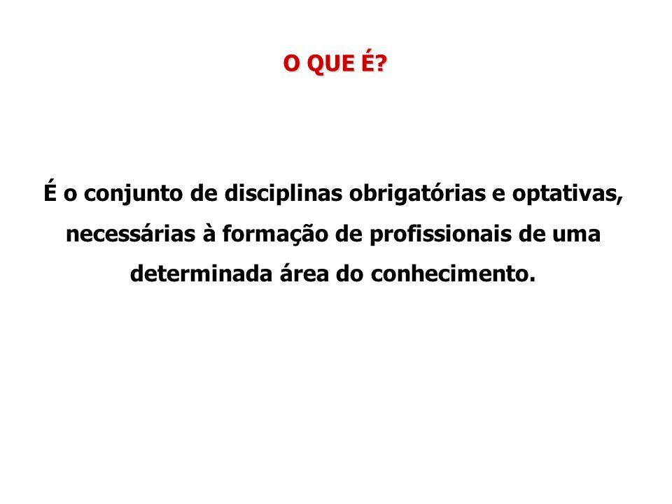 O QUE É? É o conjunto de disciplinas obrigatórias e optativas, necessárias à formação de profissionais de uma determinada área do conhecimento.