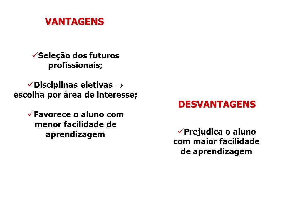 VANTAGENS Seleção dos futuros profissionais; Disciplinas eletivas escolha por área de interesse; Favorece o aluno com menor facilidade de aprendizagem