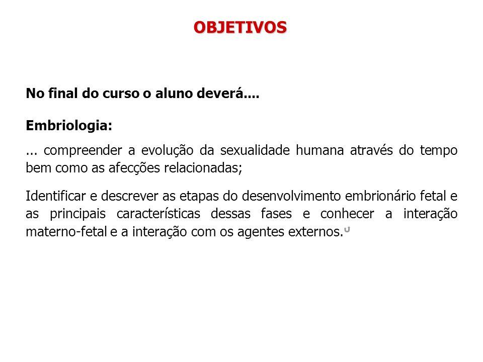 No final do curso o aluno deverá.... Embriologia:... compreender a evolução da sexualidade humana através do tempo bem como as afecções relacionadas;