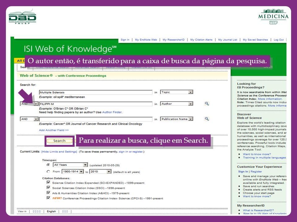 O autor então, é transferido para a caixa de busca da página da pesquisa. Para realizar a busca, clique em Search.