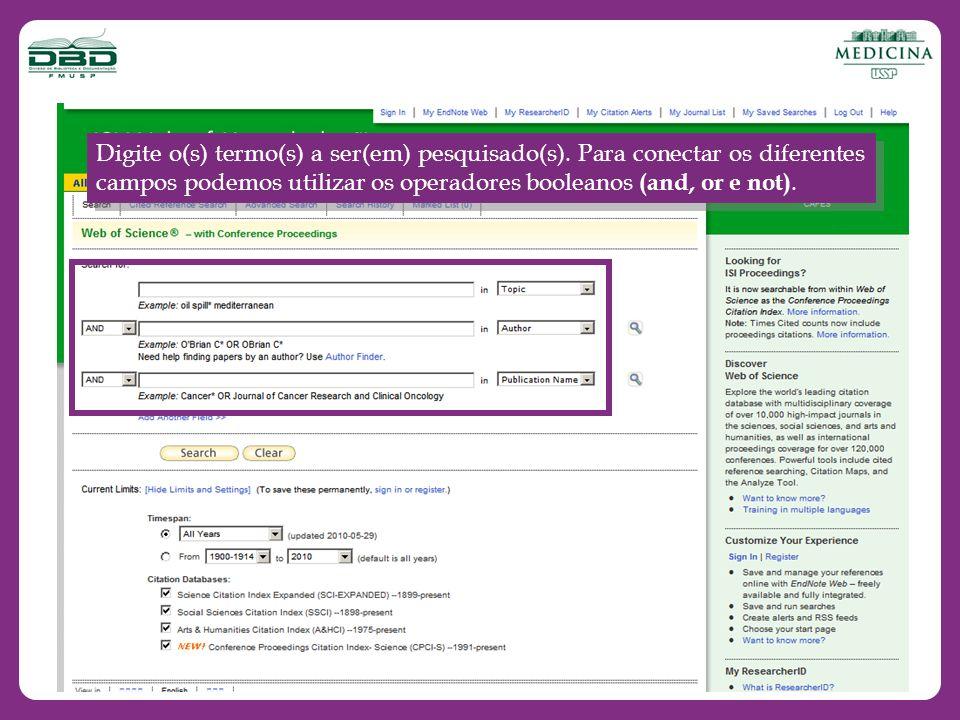 Após digitar o(s) termo(s), selecione o campo de pesquisa, utilize o menu com opções à sua direita.