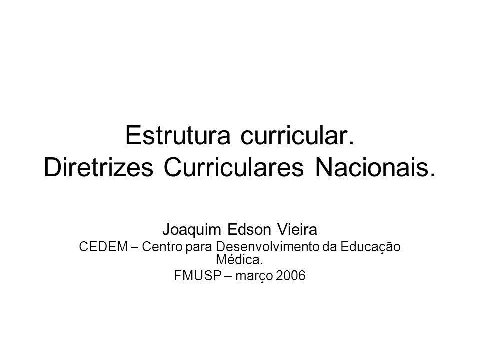 Estrutura curricular. Diretrizes Curriculares Nacionais. Joaquim Edson Vieira CEDEM – Centro para Desenvolvimento da Educação Médica. FMUSP – março 20