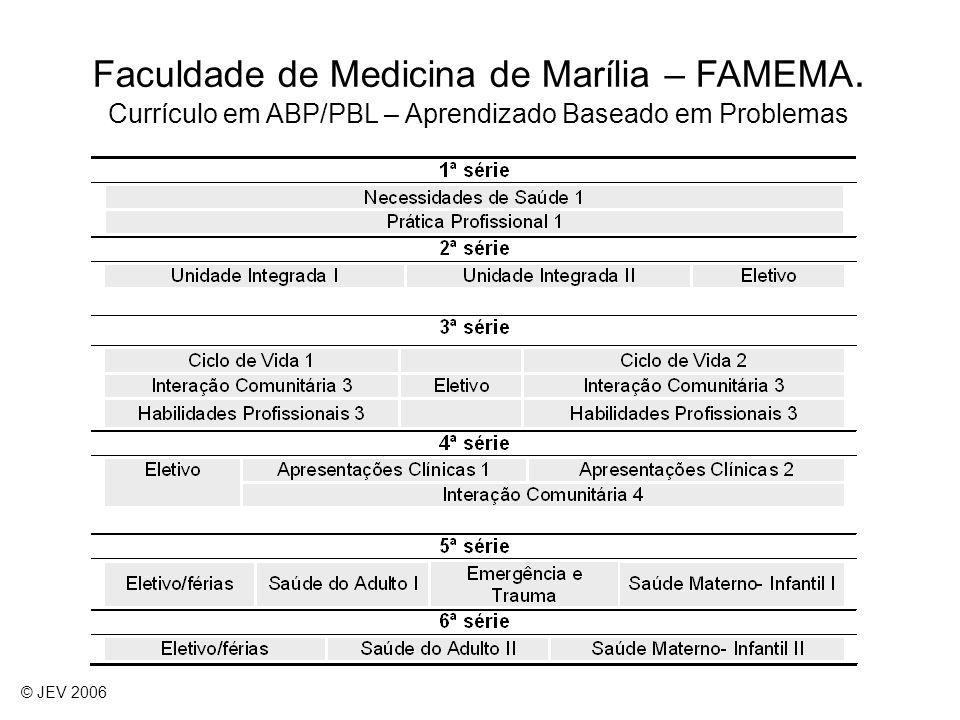 Faculdade de Medicina de Marília – FAMEMA. Currículo em ABP/PBL – Aprendizado Baseado em Problemas © JEV 2006