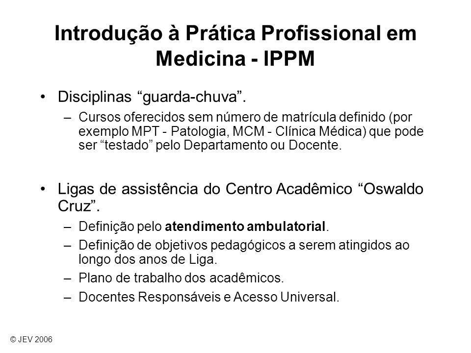 Introdução à Prática Profissional em Medicina - IPPM Disciplinas guarda-chuva. –Cursos oferecidos sem número de matrícula definido (por exemplo MPT -
