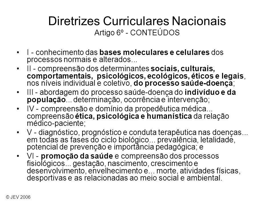 I - conhecimento das bases moleculares e celulares dos processos normais e alterados... II - compreensão dos determinantes sociais, culturais, comport
