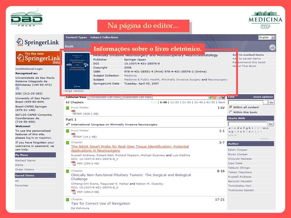 Na página do editor... Informações sobre o livro eletrônico.