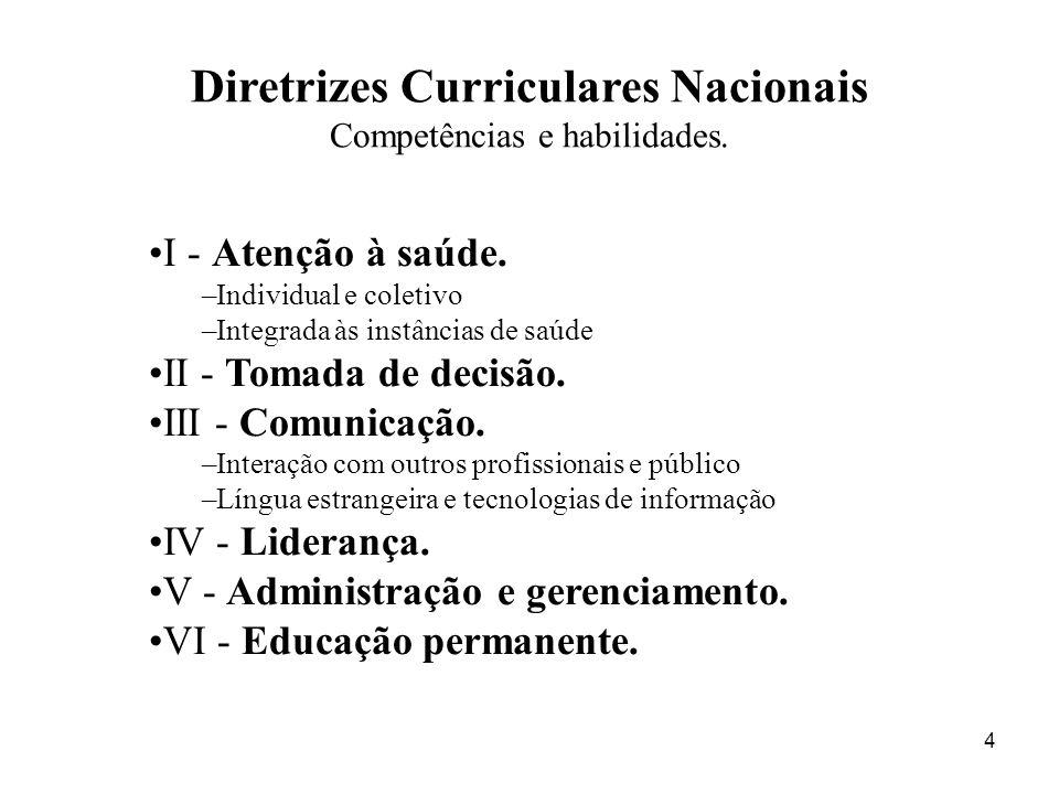 5 I - Ter como eixo curricular as necessidades de saúde dos indivíduos e das populações...