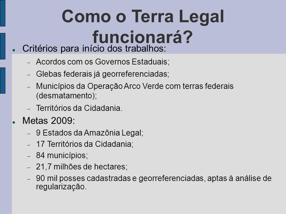 Como o Terra Legal funcionará? Critérios para início dos trabalhos: Acordos com os Governos Estaduais; Glebas federais já georreferenciadas; Município