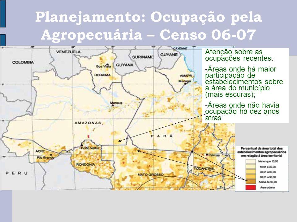 Atenção sobre as ocupações recentes: -Áreas onde há maior participação de estabelecimentos sobre a área do município (mais escuras); -Áreas onde não h