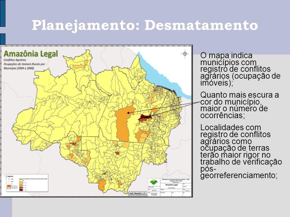 O mapa indica municípios com registro de conflitos agrários (ocupação de imóveis); Quanto mais escura a cor do município, maior o número de ocorrência