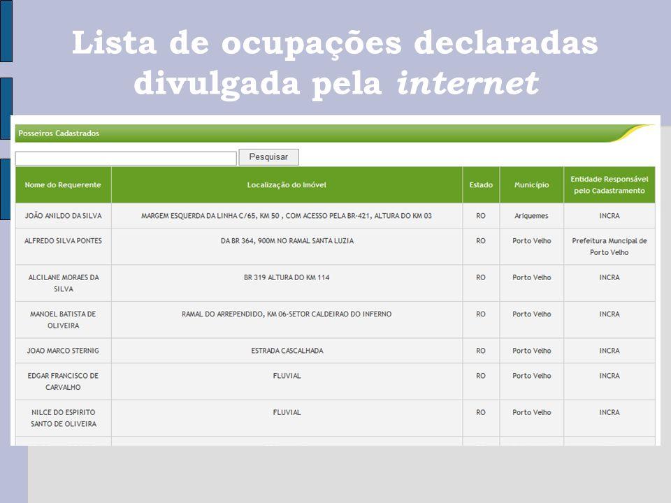 Lista de ocupações declaradas divulgada pela internet
