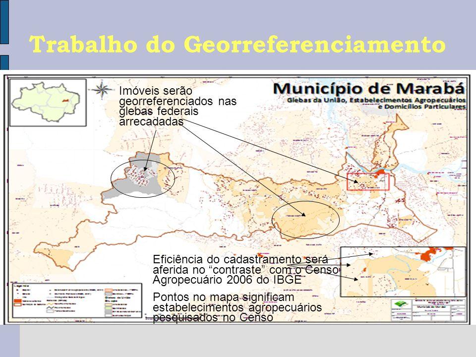 Trabalho do Georreferenciamento Imóveis serão georreferenciados nas glebas federais arrecadadas Eficiência do cadastramento será aferida no contraste