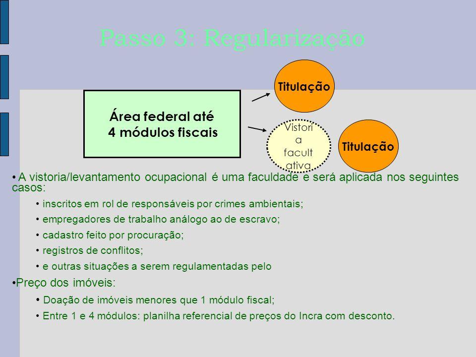 Titulação Passo 3: Regularização A vistoria/levantamento ocupacional é uma faculdade e será aplicada nos seguintes casos: inscritos em rol de responsá
