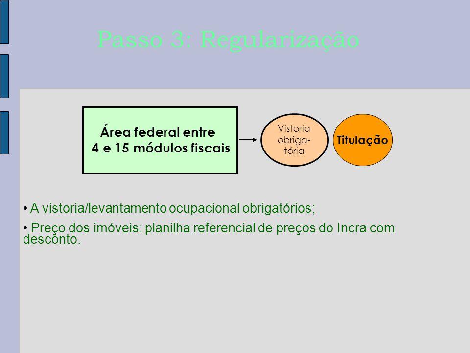 Titulação Passo 3: Regularização A vistoria/levantamento ocupacional obrigatórios; Preço dos imóveis: planilha referencial de preços do Incra com desc