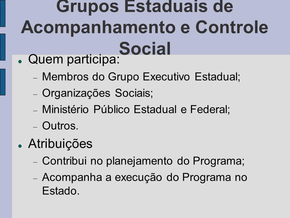 Grupos Estaduais de Acompanhamento e Controle Social Quem participa: Membros do Grupo Executivo Estadual; Organizações Sociais; Ministério Público Est