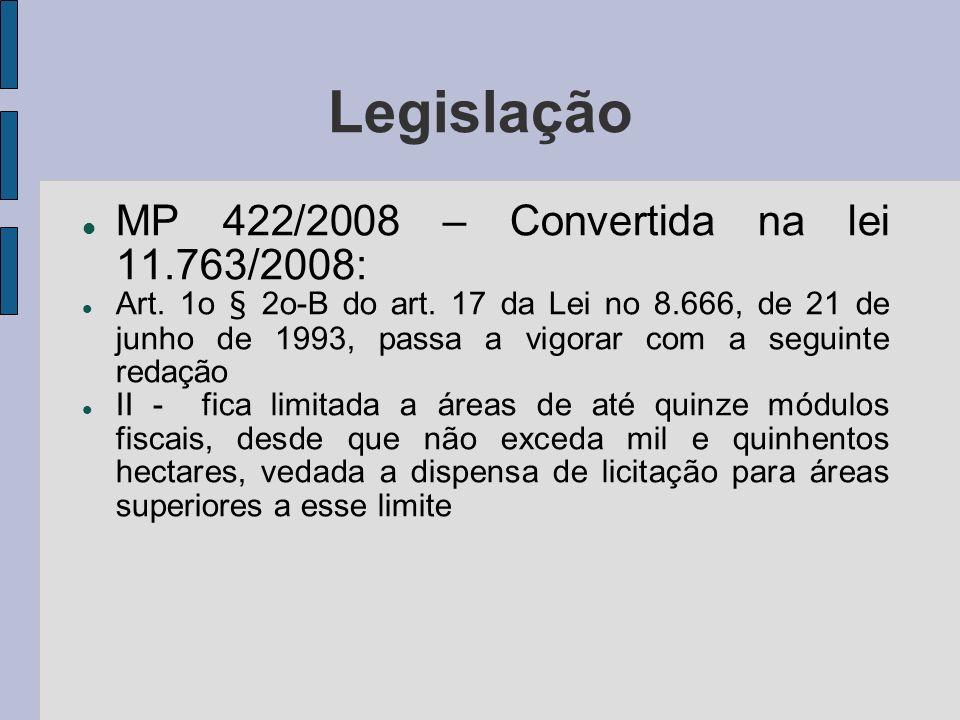Legislação MP 422/2008 – Convertida na lei 11.763/2008: Art. 1o § 2o-B do art. 17 da Lei no 8.666, de 21 de junho de 1993, passa a vigorar com a segui