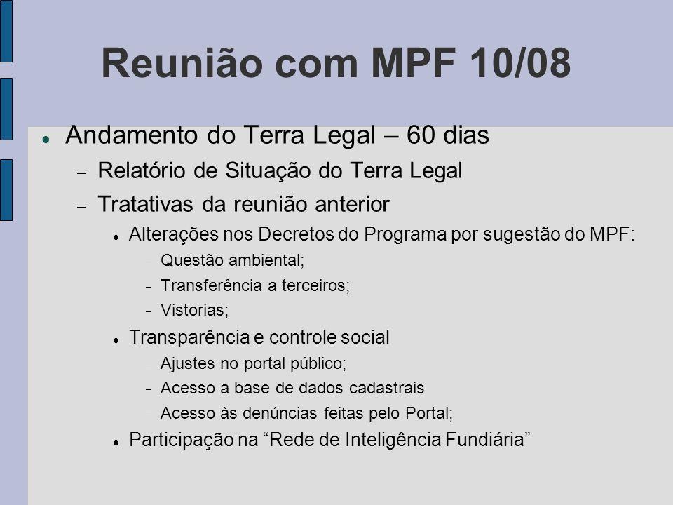 Reunião com MPF 10/08 Andamento do Terra Legal – 60 dias Relatório de Situação do Terra Legal Tratativas da reunião anterior Alterações nos Decretos d