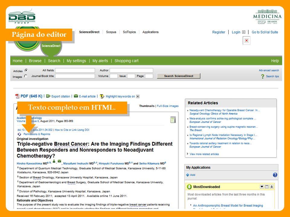 Página do editor Texto completo em HTML.