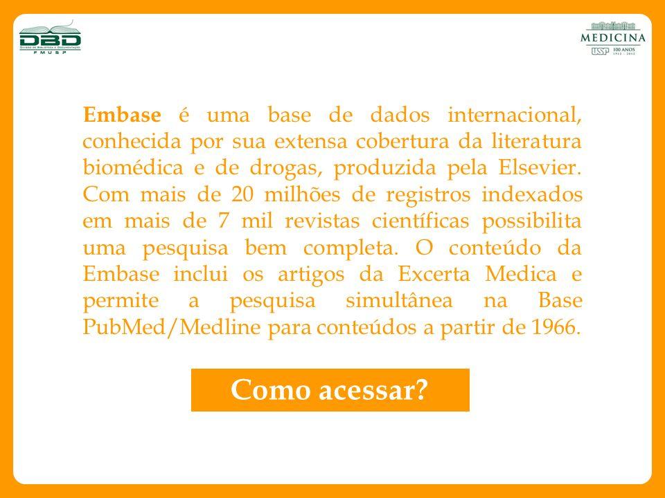 Embase é uma base de dados internacional, conhecida por sua extensa cobertura da literatura biomédica e de drogas, produzida pela Elsevier. Com mais d