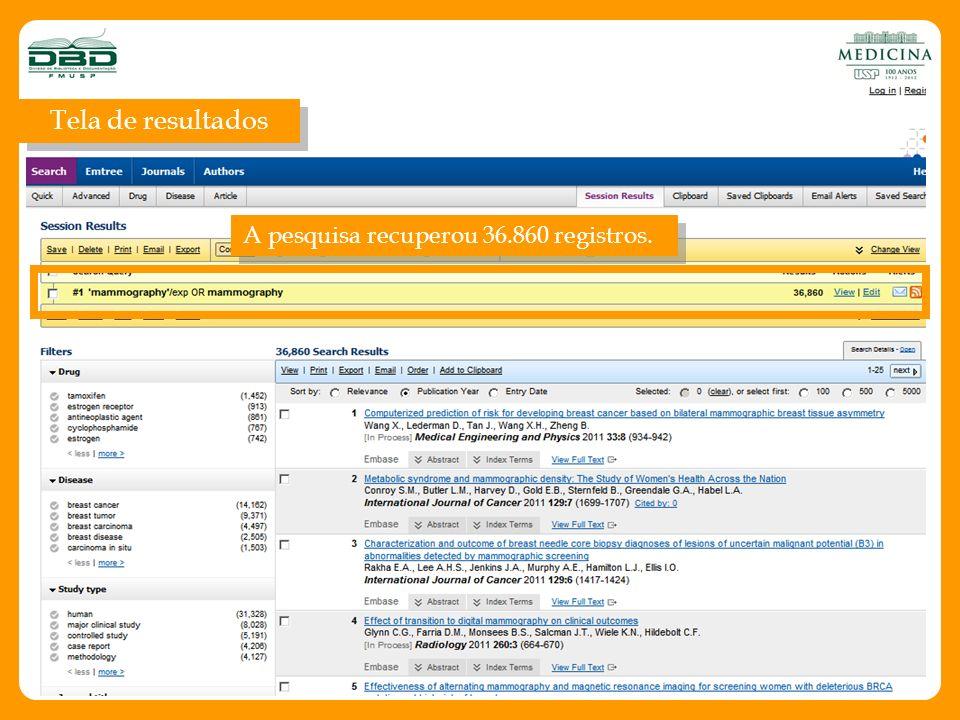 Selecionando a aba Journals é apresentada uma lista em ordem alfabética dos títulos de periódicos incluídos na Embase.