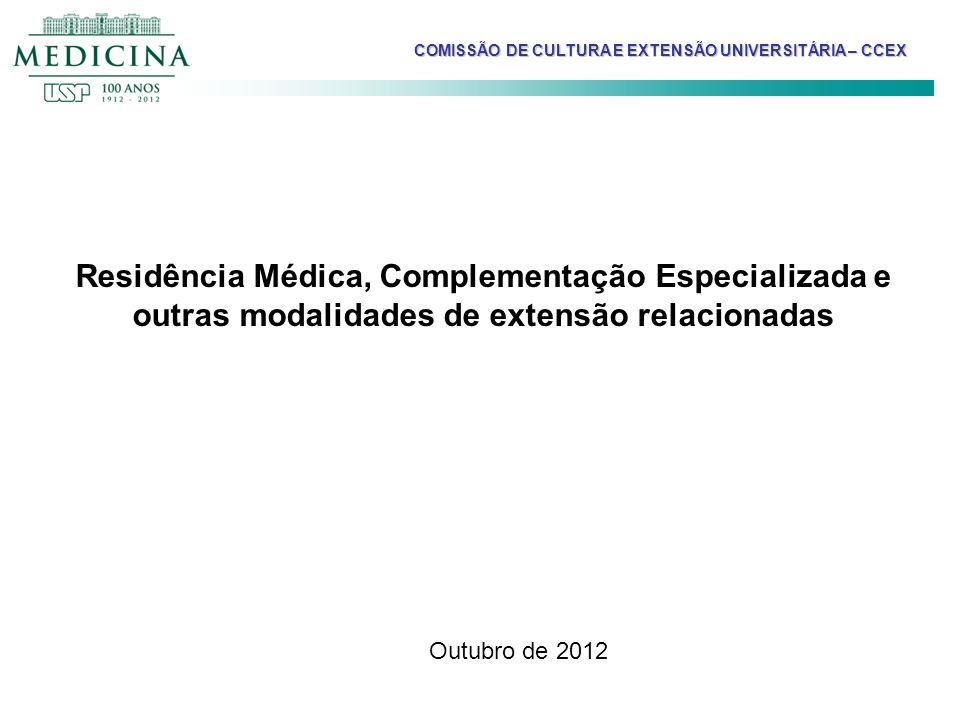 COMISSÃO DE CULTURA E EXTENSÃO UNIVERSITÁRIA – CCEX Residência Médica, Complementação Especializada e outras modalidades de extensão relacionadas Outu