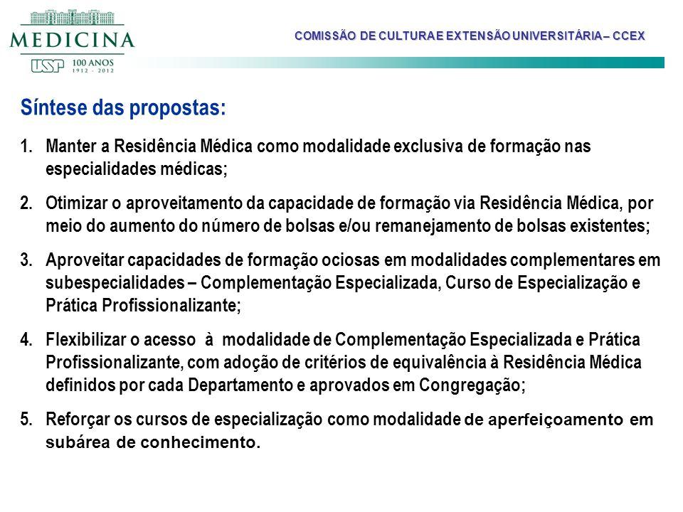 Síntese das propostas: 1.Manter a Residência Médica como modalidade exclusiva de formação nas especialidades médicas; 2.Otimizar o aproveitamento da c