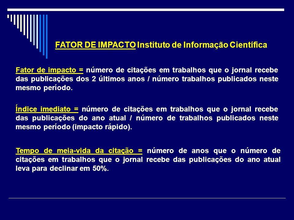 FATOR DE IMPACTO Instituto de Informação Científica Fator de impacto = número de citações em trabalhos que o jornal recebe das publicações dos 2 últim