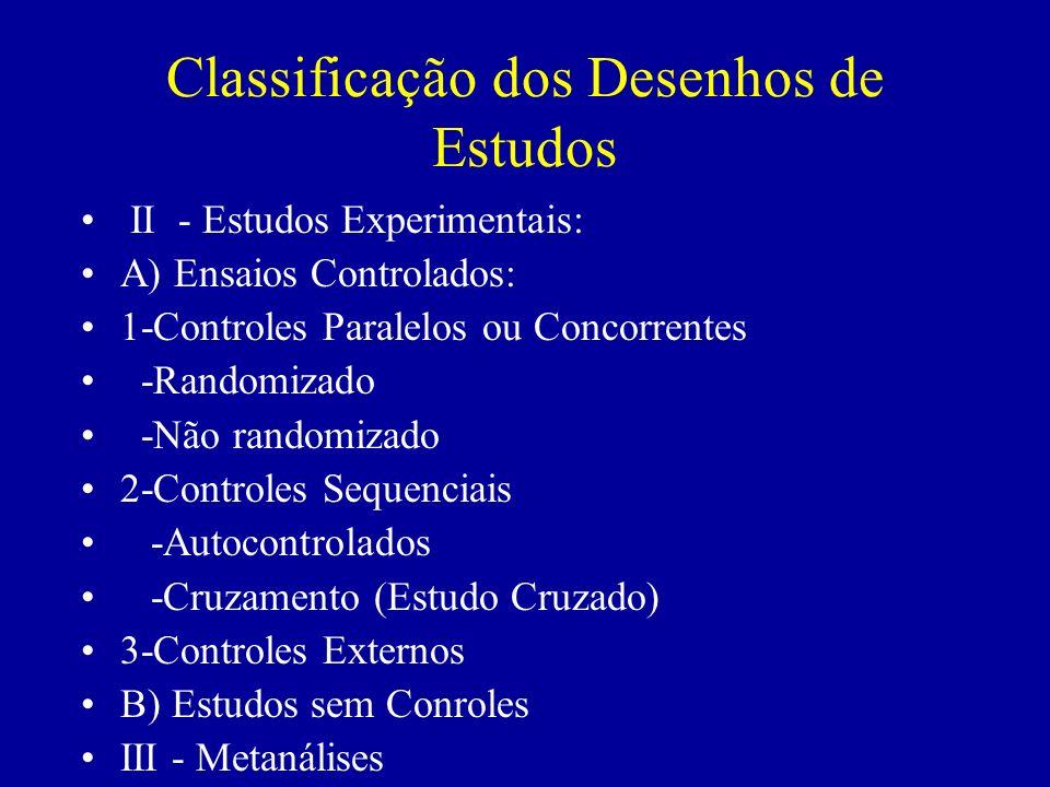 Classificação dos Desenhos de Estudos II - Estudos Experimentais: A) Ensaios Controlados: 1-Controles Paralelos ou Concorrentes -Randomizado -Não rand