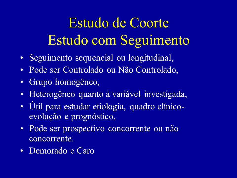 Estudo de Coorte Estudo com Seguimento Seguimento sequencial ou longitudinal, Pode ser Controlado ou Não Controlado, Grupo homogêneo, Heterogêneo quan